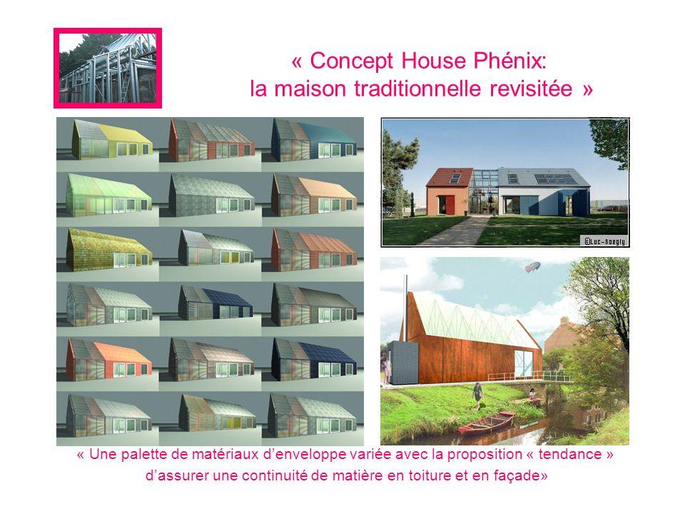 « Concept House Phénix: la maison traditionnelle revisitée » « Une palette de matériaux denveloppe variée avec la proposition « tendance » dassurer un