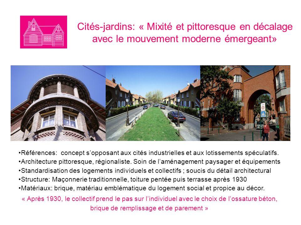 Cités-jardins: « Mixité et pittoresque en décalage avec le mouvement moderne émergeant» Références: concept sopposant aux cités industrielles et aux lotissements spéculatifs.