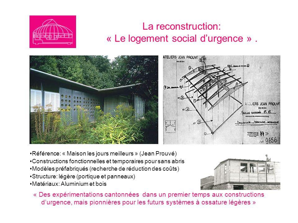 La reconstruction: « Le logement social durgence ». Référence: « Maison les jours meilleurs » (Jean Prouvé) Constructions fonctionnelles et temporaire