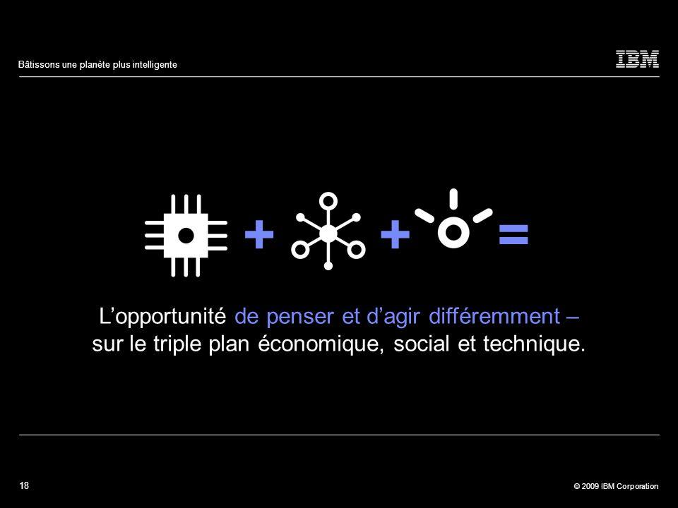 18 © 2009 IBM Corporation Bâtissons une planète plus intelligente ++= Lopportunité de penser et dagir différemment – sur le triple plan économique, so