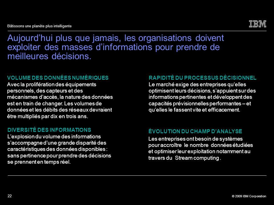 22 © 2009 IBM Corporation Bâtissons une planète plus intelligente Aujourdhui plus que jamais, les organisations doivent exploiter des masses dinformat