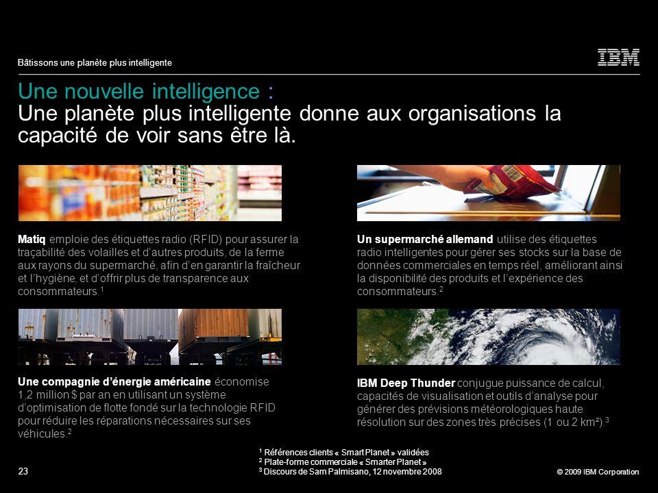 23 © 2009 IBM Corporation Bâtissons une planète plus intelligente Une nouvelle intelligence : Une planète plus intelligente donne aux organisations la