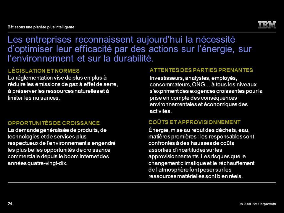 24 © 2009 IBM Corporation Bâtissons une planète plus intelligente Les entreprises reconnaissent aujourdhui la nécessité doptimiser leur efficacité par