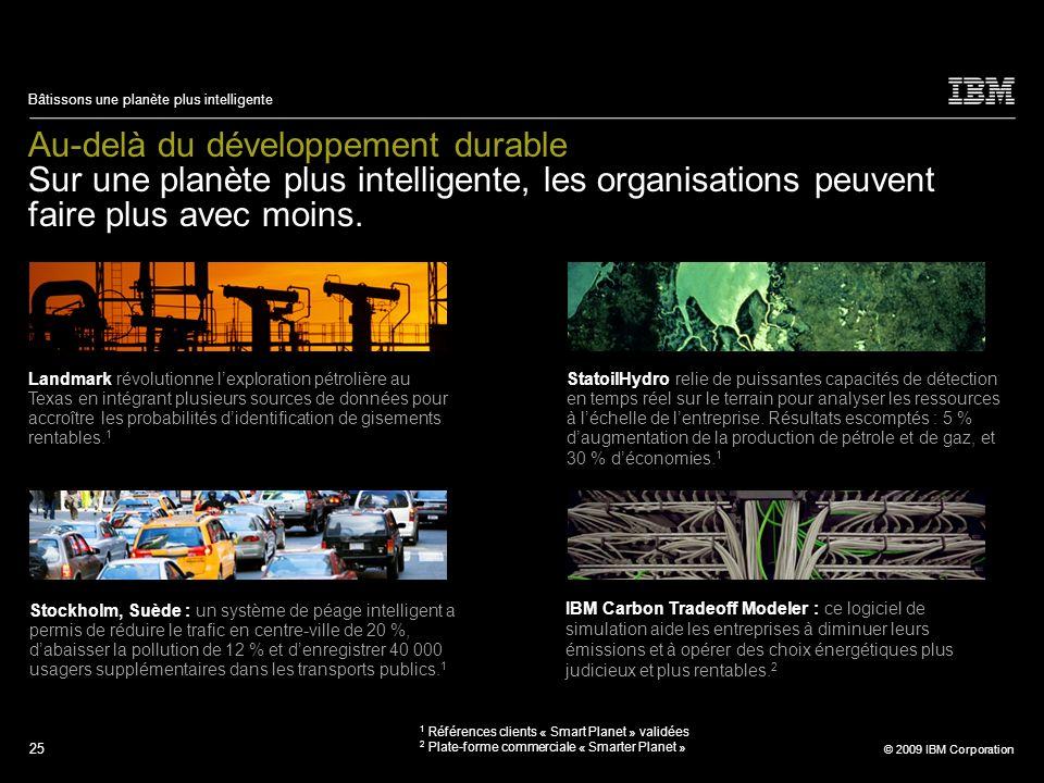 25 © 2009 IBM Corporation Bâtissons une planète plus intelligente Au-delà du développement durable Sur une planète plus intelligente, les organisation