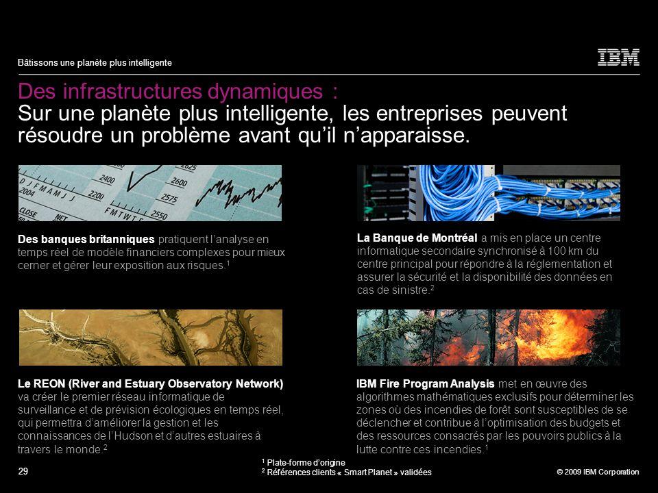 29 © 2009 IBM Corporation Bâtissons une planète plus intelligente Des infrastructures dynamiques : Sur une planète plus intelligente, les entreprises