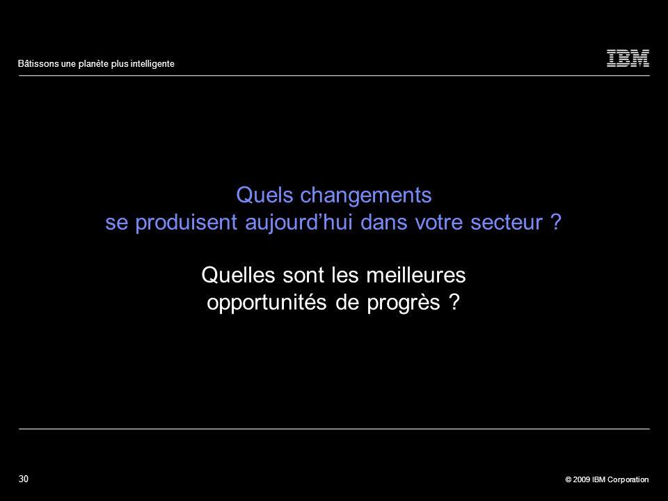 30 © 2009 IBM Corporation Bâtissons une planète plus intelligente Quels changements se produisent aujourdhui dans votre secteur ? Quelles sont les mei