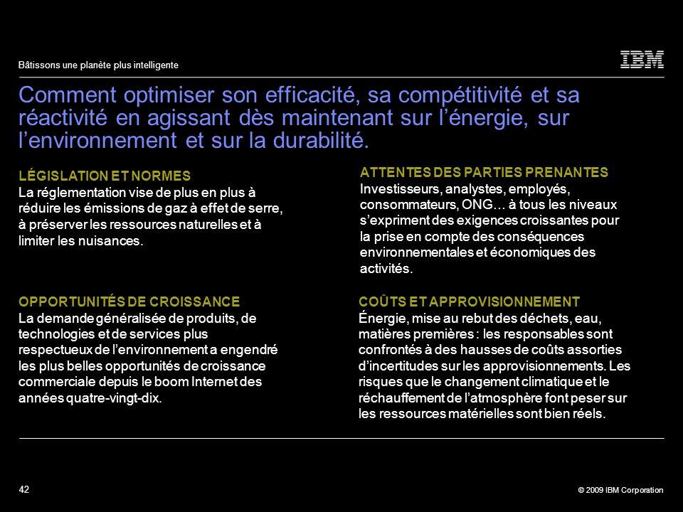 42 © 2009 IBM Corporation Bâtissons une planète plus intelligente Comment optimiser son efficacité, sa compétitivité et sa réactivité en agissant dès