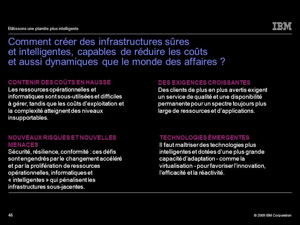 46 © 2009 IBM Corporation Bâtissons une planète plus intelligente Comment créer des infrastructures sûres et intelligentes, capables de réduire les co