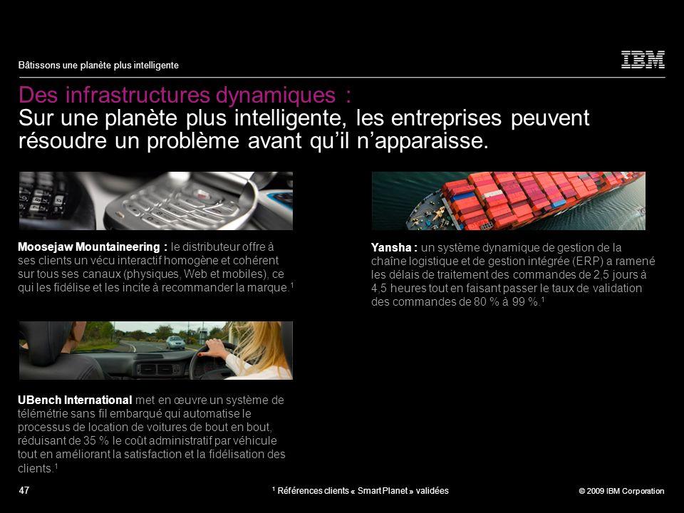 47 © 2009 IBM Corporation Bâtissons une planète plus intelligente Des infrastructures dynamiques : Sur une planète plus intelligente, les entreprises