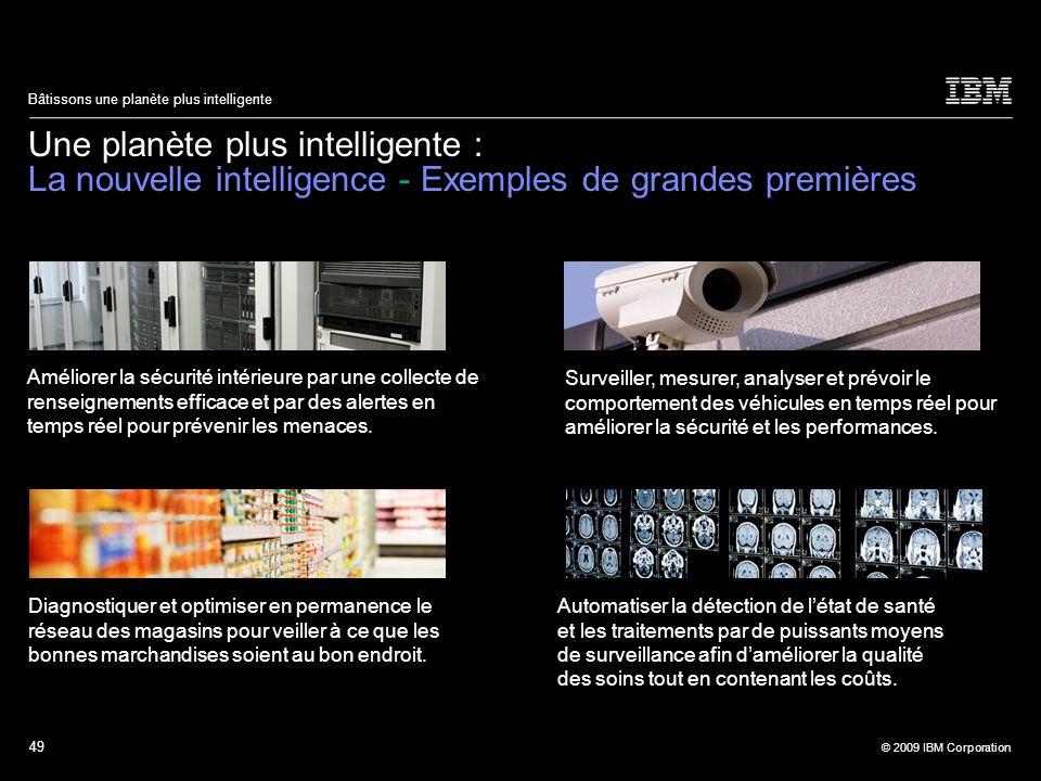 49 © 2009 IBM Corporation Bâtissons une planète plus intelligente Une planète plus intelligente : La nouvelle intelligence - Exemples de grandes premi