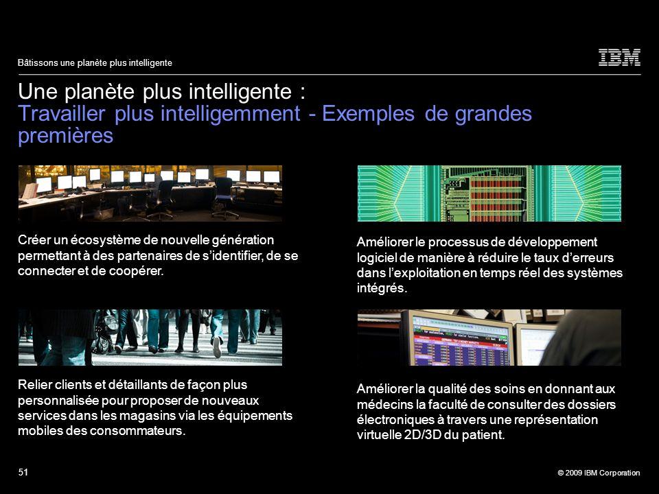 51 © 2009 IBM Corporation Bâtissons une planète plus intelligente Une planète plus intelligente : Travailler plus intelligemment - Exemples de grandes