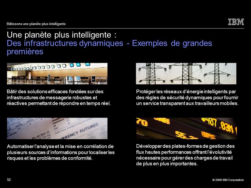 52 © 2009 IBM Corporation Bâtissons une planète plus intelligente Une planète plus intelligente : Des infrastructures dynamiques - Exemples de grandes
