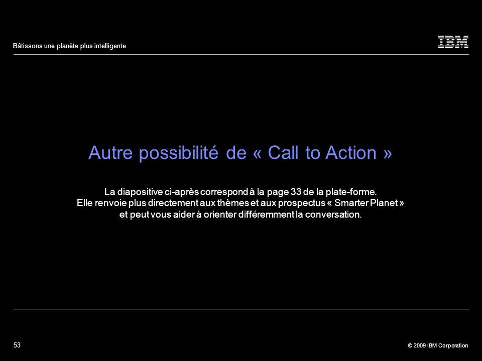 53 © 2009 IBM Corporation Bâtissons une planète plus intelligente Autre possibilité de « Call to Action » La diapositive ci-après correspond à la page