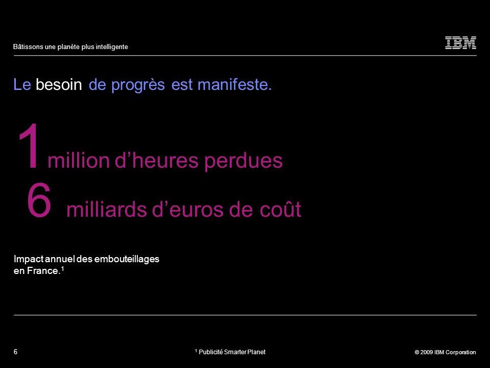 6 © 2009 IBM Corporation Bâtissons une planète plus intelligente Le besoin de progrès est manifeste. Impact annuel des embouteillages en France. 1 1 m