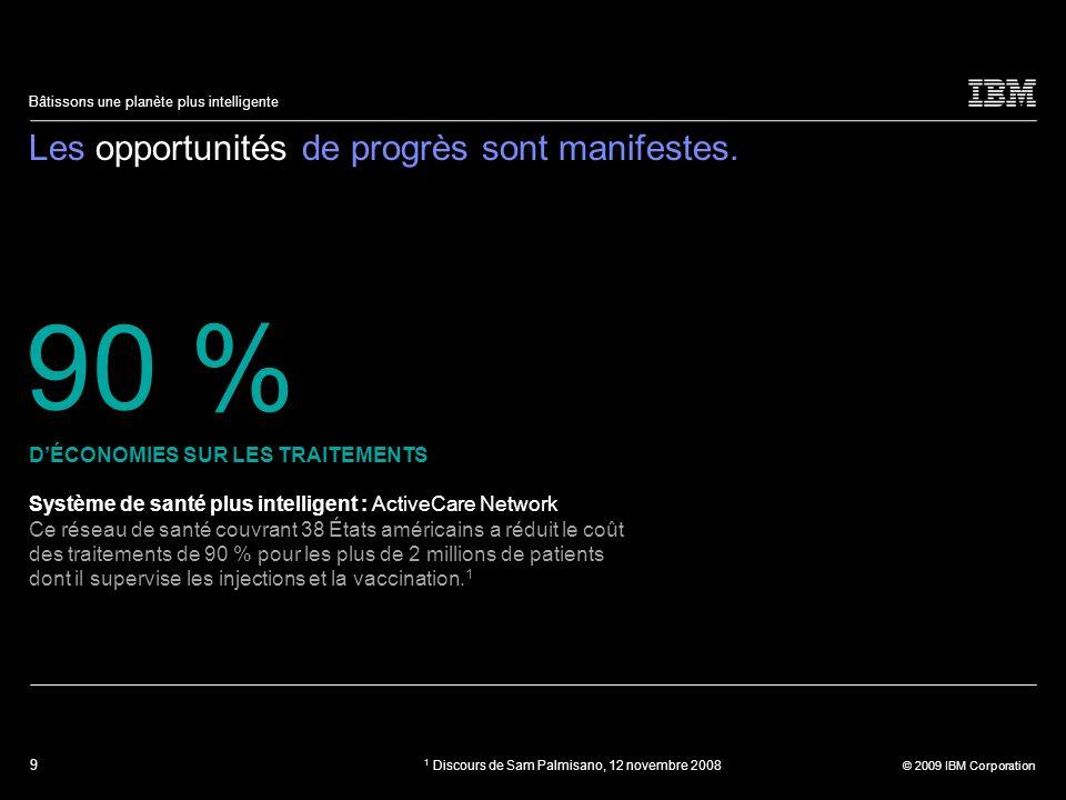 9 © 2009 IBM Corporation Bâtissons une planète plus intelligente Les opportunités de progrès sont manifestes. Système de santé plus intelligent : Acti