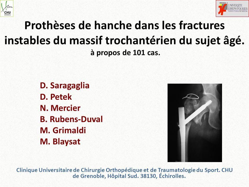 Prothèses de hanche dans les fractures instables du massif trochantérien du sujet âgé. à propos de 101 cas. D. Saragaglia D. Petek N. Mercier B. Ruben