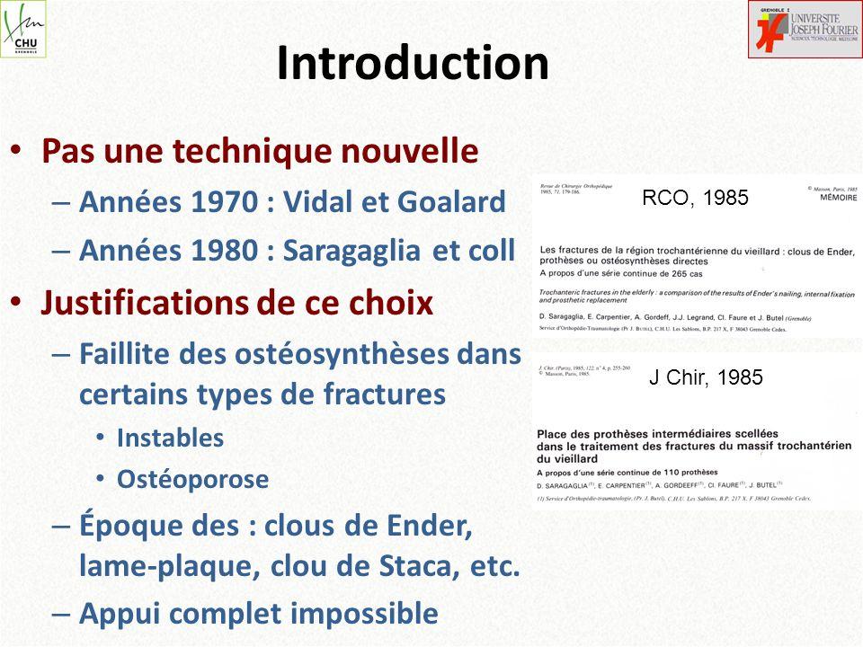 Introduction Pas une technique nouvelle – Années 1970 : Vidal et Goalard – Années 1980 : Saragaglia et coll Justifications de ce choix – Faillite des