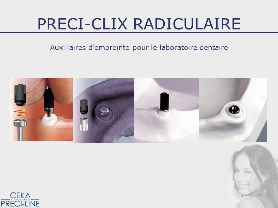 Auxiliaires dempreinte pour le laboratoire dentaire PRECI-CLIX RADICULAIRE