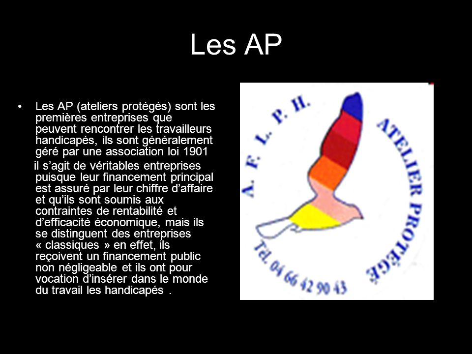 Les AP Les AP (ateliers protégés) sont les premières entreprises que peuvent rencontrer les travailleurs handicapés, ils sont généralement géré par un