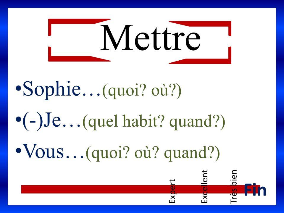 Sophie… (quoi? où?) (-)Je… (quel habit? quand?) Vous… (quoi? où? quand?) ExpertExcellentTrès bien Fin Mettre