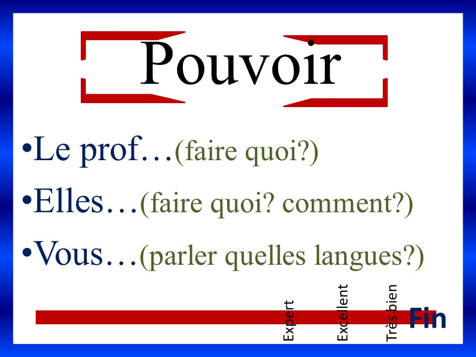 Le prof… (faire quoi?) Elles… (faire quoi? comment?) Vous… (parler quelles langues?) ExpertExcellentTrès bien Fin Pouvoir