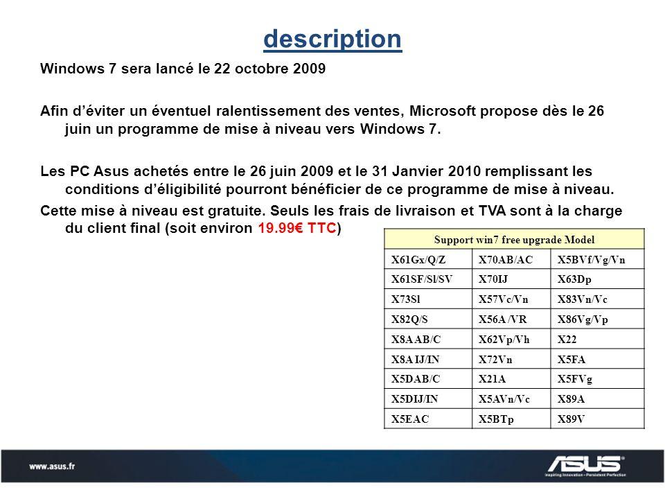 description Windows 7 sera lancé le 22 octobre 2009 Afin déviter un éventuel ralentissement des ventes, Microsoft propose dès le 26 juin un programme de mise à niveau vers Windows 7.
