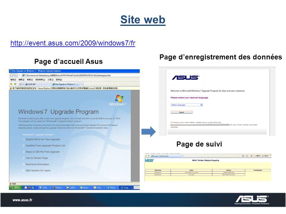Site web Page daccueil Asus Page denregistrement des données Page de suivi http://event.asus.com/2009/windows7/fr