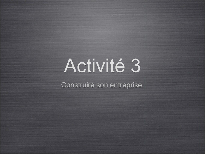 Activité 3 Construire son entreprise.