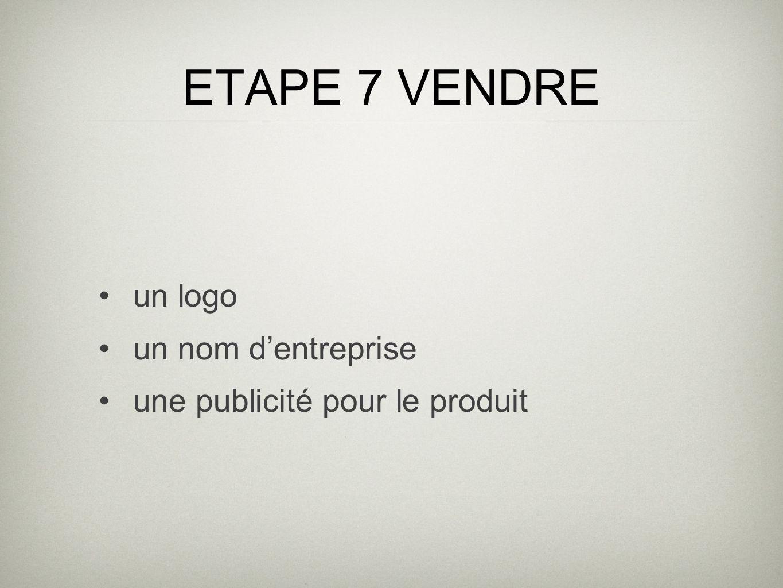 ETAPE 7 VENDRE un logo un nom dentreprise une publicité pour le produit