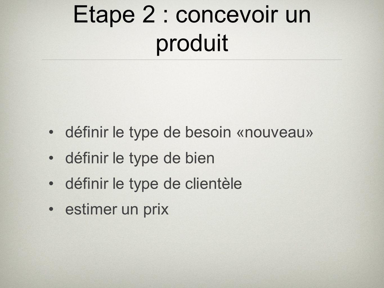 Etape 2 : concevoir un produit définir le type de besoin «nouveau» définir le type de bien définir le type de clientèle estimer un prix