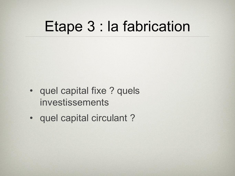 ETAPE 4 : déterminer les coûts de production Coût du capital fixe Couts des consommations intermédiaires