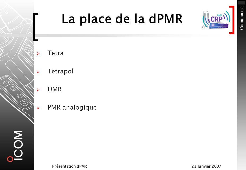 Présentation dPMR23 Janvier 2007 Occupation du canal