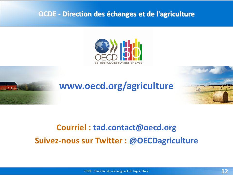 OCDE - Direction des échanges et de l agriculture 12 www.oecd.org/agriculture Courriel : tad.contact@oecd.org Suivez-nous sur Twitter : @OECDagriculture OCDE - Direction des échanges et de l agriculture