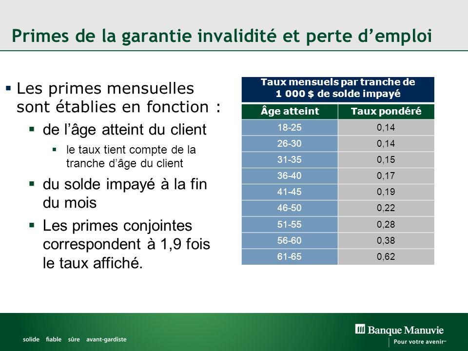 Primes de la garantie invalidité et perte demploi Les primes mensuelles sont établies en fonction : de lâge atteint du client le taux tient compte de