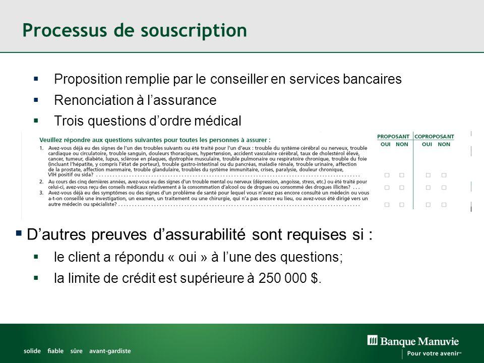 Processus de souscription Proposition remplie par le conseiller en services bancaires Renonciation à lassurance Trois questions dordre médical Dautres