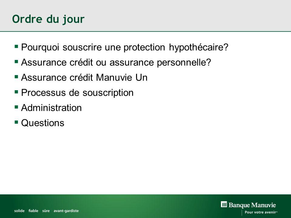 Ordre du jour Pourquoi souscrire une protection hypothécaire? Assurance crédit ou assurance personnelle? Assurance crédit Manuvie Un Processus de sous