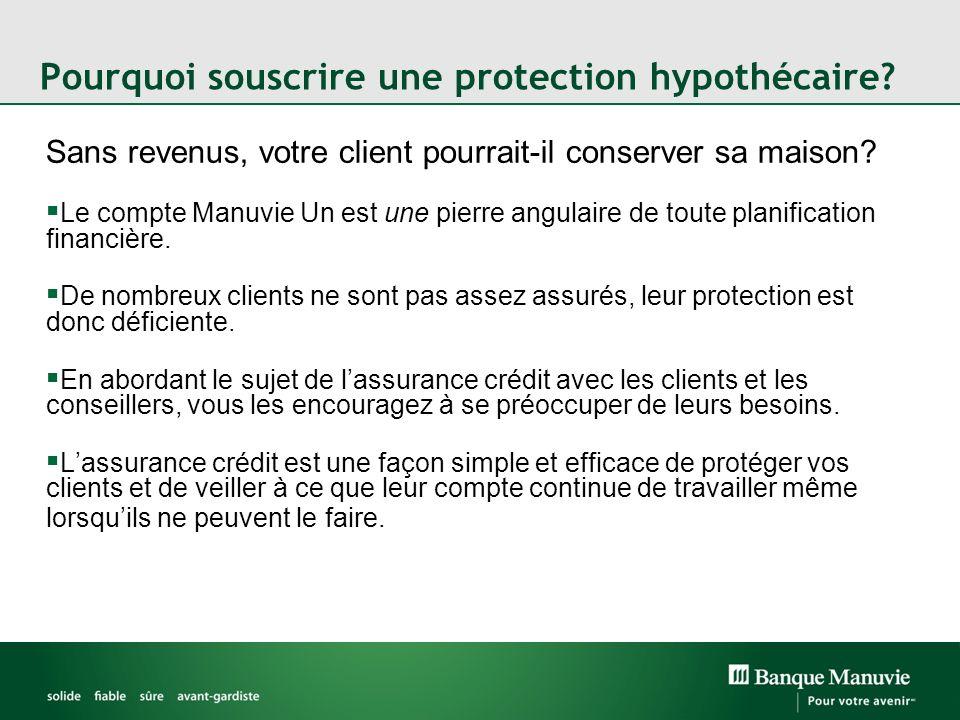 Pourquoi souscrire une protection hypothécaire? Sans revenus, votre client pourrait-il conserver sa maison? Le compte Manuvie Un est une pierre angula