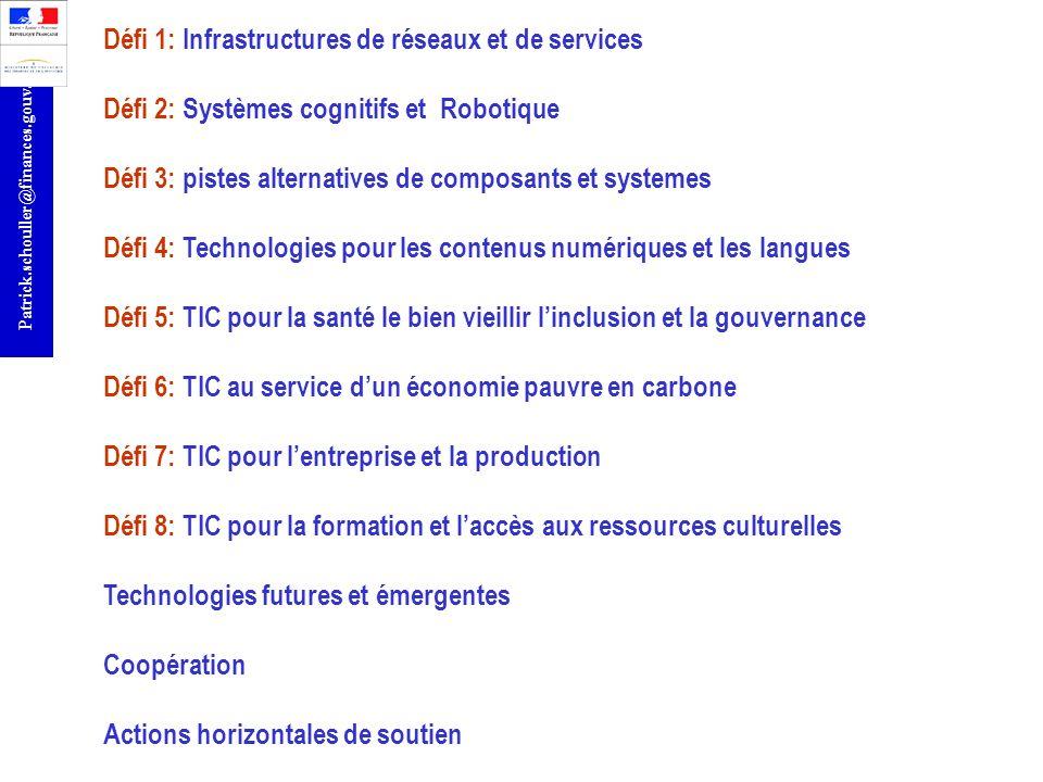 r Patrick.schouller@finances.gouv.fr Défi 1: Infrastructures de réseaux et de services Défi 2: Systèmes cognitifs et Robotique Défi 3: pistes alternat