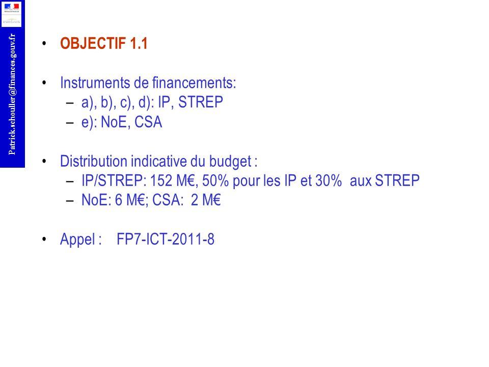 r Patrick.schouller@finances.gouv.fr OBJECTIF 1.1 Instruments de financements: –a), b), c), d): IP, STREP –e): NoE, CSA Distribution indicative du bud