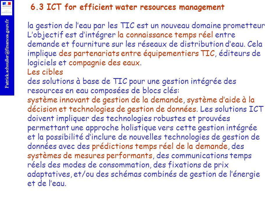 r Patrick.schouller@finances.gouv.fr 6.3 ICT for efficient water resources management la gestion de leau par les TIC est un nouveau domaine prometteur