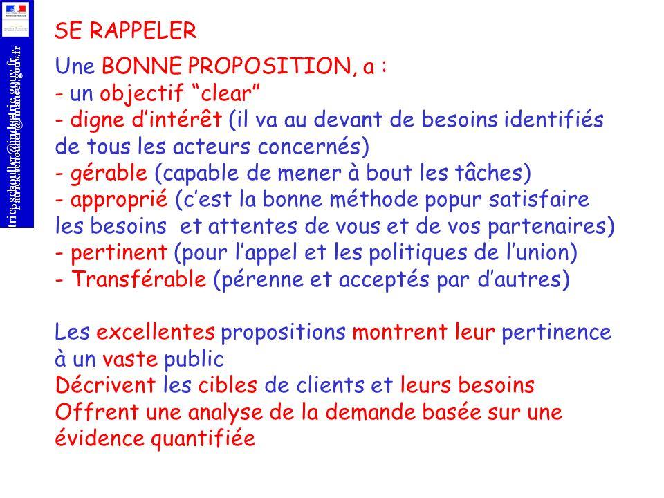 r Patrick.schouller@finances.gouv.fr Patric;.schouller@industrie.gouv.fr SE RAPPELER Une BONNE PROPOSITION, a : - un objectif clear - digne dintérêt (