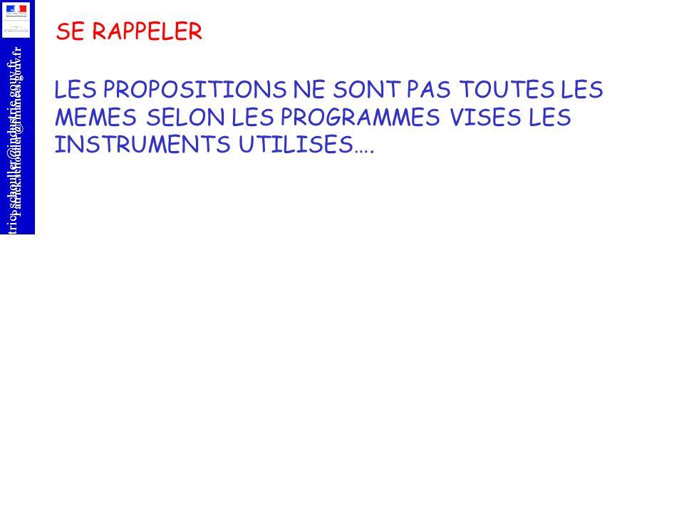 r Patrick.schouller@finances.gouv.fr Patric;.schouller@industrie.gouv.fr SE RAPPELER LES PROPOSITIONS NE SONT PAS TOUTES LES MEMES SELON LES PROGRAMME
