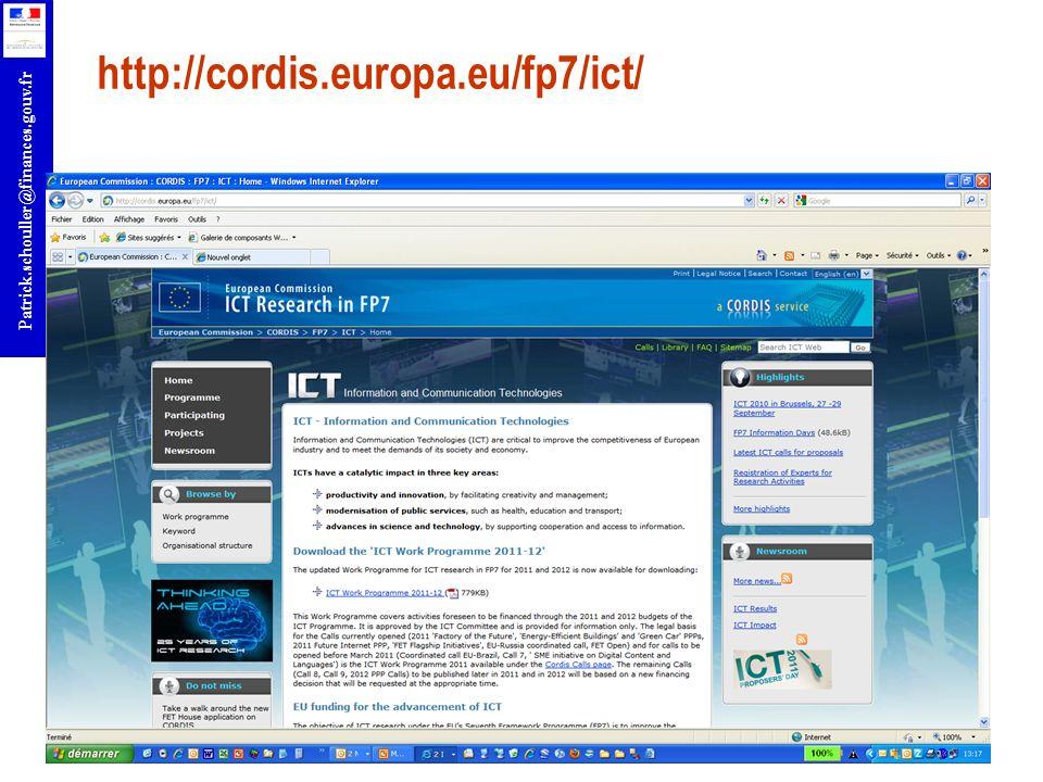 r Patrick.schouller@finances.gouv.fr http://cordis.europa.eu/fp7/ict/