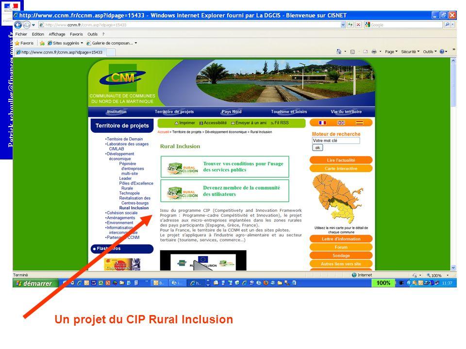 r Patrick.schouller@finances.gouv.fr Un projet du CIP Rural Inclusion