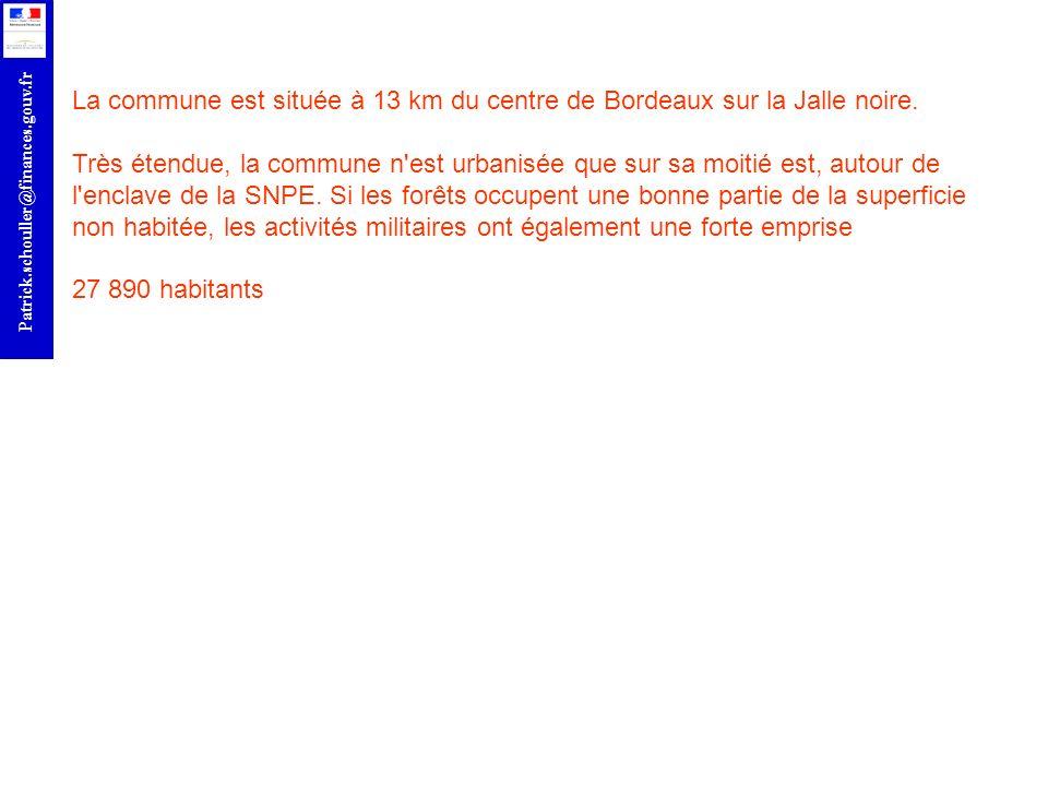 r Patrick.schouller@finances.gouv.fr La commune est située à 13 km du centre de Bordeaux sur la Jalle noire. Très étendue, la commune n'est urbanisée