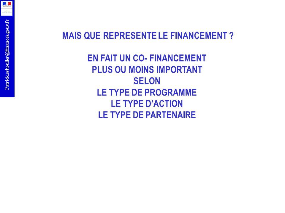 r Patrick.schouller@finances.gouv.fr MAIS QUE REPRESENTE LE FINANCEMENT ? EN FAIT UN CO- FINANCEMENT PLUS OU MOINS IMPORTANT SELON LE TYPE DE PROGRAMM