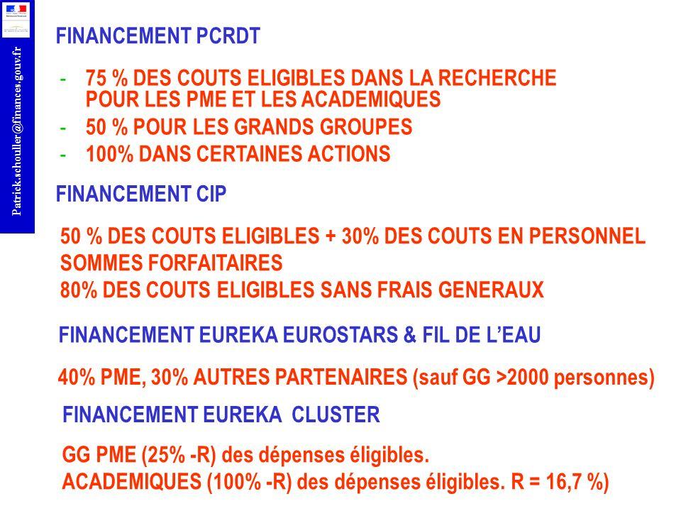 r Patrick.schouller@finances.gouv.fr - 75 % DES COUTS ELIGIBLES DANS LA RECHERCHE POUR LES PME ET LES ACADEMIQUES - 50 % POUR LES GRANDS GROUPES - 100