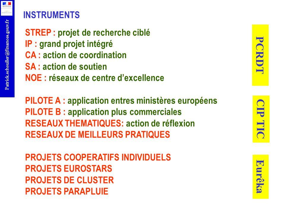 r Patrick.schouller@finances.gouv.fr STREP : projet de recherche ciblé IP : grand projet intégré CA : action de coordination SA : action de soutien NO