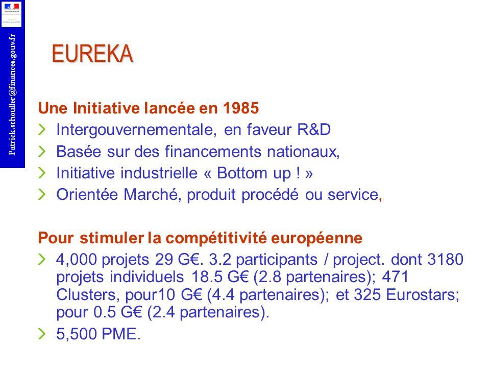r Patrick.schouller@finances.gouv.fr EUREKA Une Initiative lancée en 1985 Intergouvernementale, en faveur R&D Basée sur des financements nationaux, In