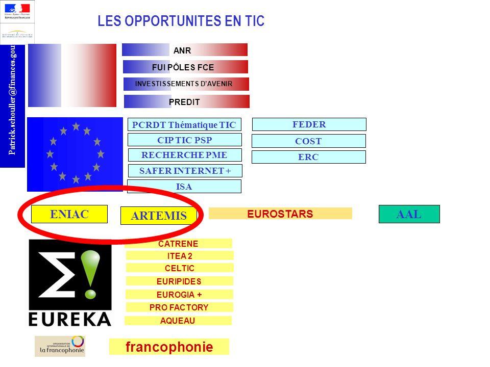 r Patrick.schouller@finances.gouv.fr LES OPPORTUNITES EN TIC ANR francophonie PCRDT Thématique TIC EUROSTARS ENIAC ARTEMIS AAL CATRENE FUI PÔLES FCE I